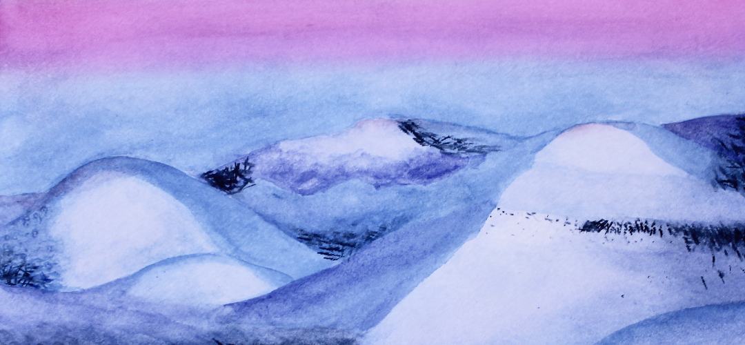 watercolor painting of snowy mountains during sunset
