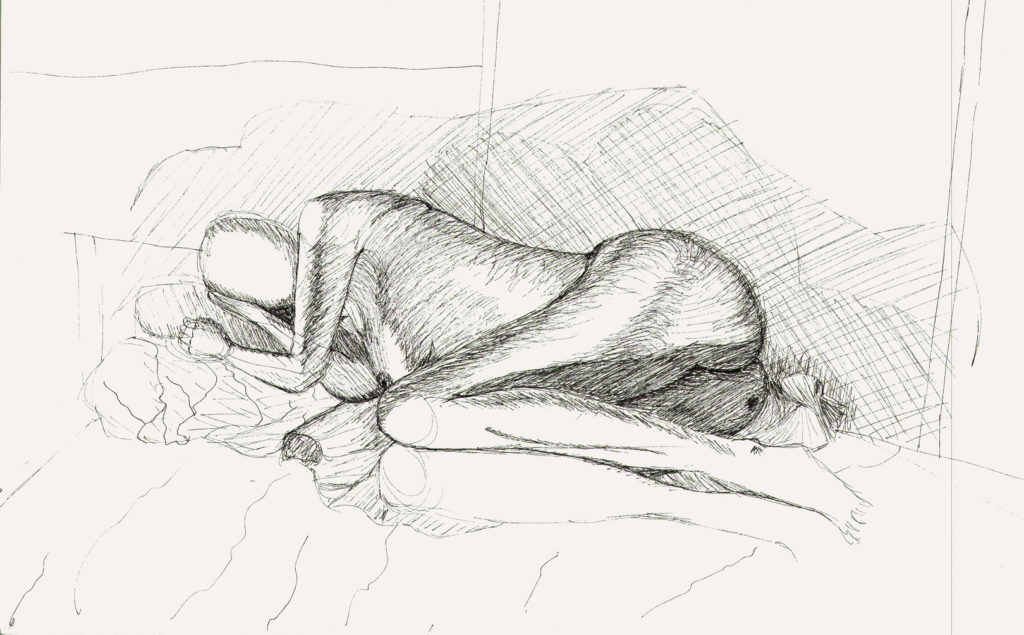a pen drawing of a full body figure reclining