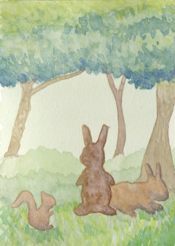 watercolor painting of two rabbits and a squirrel in the woods