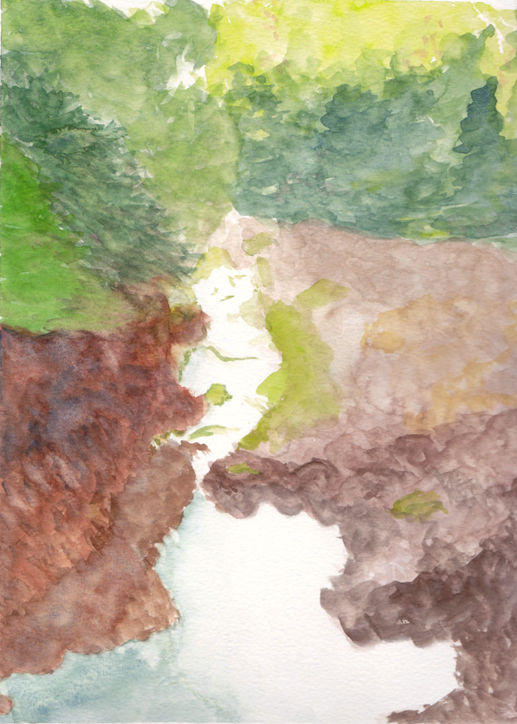 watercolor painting of a creek surrounded by rocks and trees