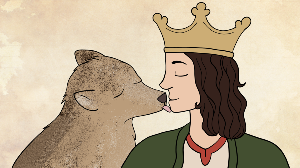 a digital drawing of wolf licking a king on the chin